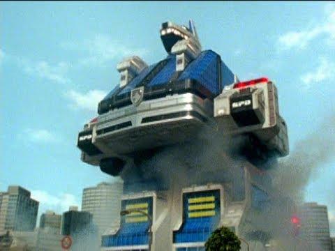 Power Rangers S.P.D. - Delta Command Crawler First Zord Fight   Episode 14