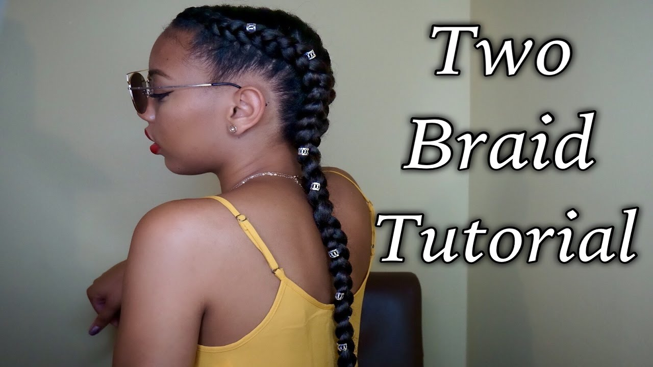 Two easy cornrow braids tutorial using braiding hair feeding two easy cornrow braids tutorial using braiding hair feeding method youtube ccuart Image collections