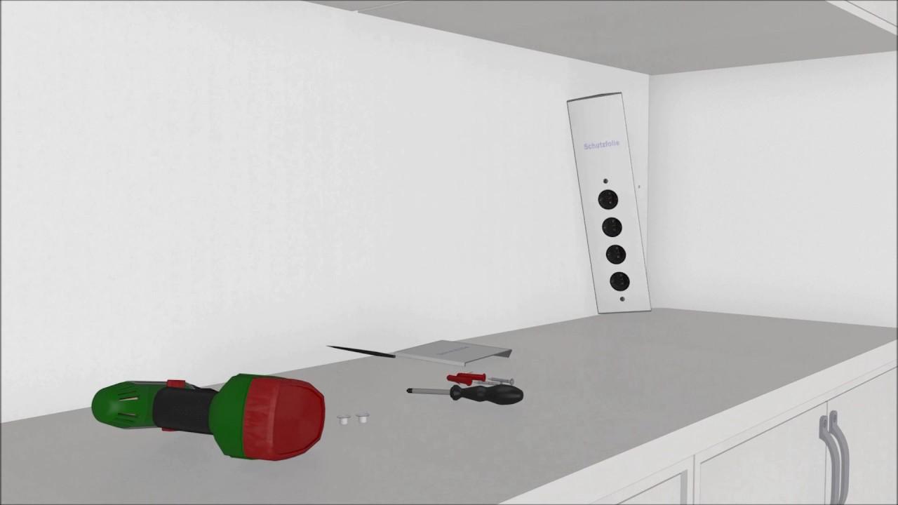 Einbau Montage der Ecksteckdose 17586 Thebo ST 3007 in die Küchenzeile