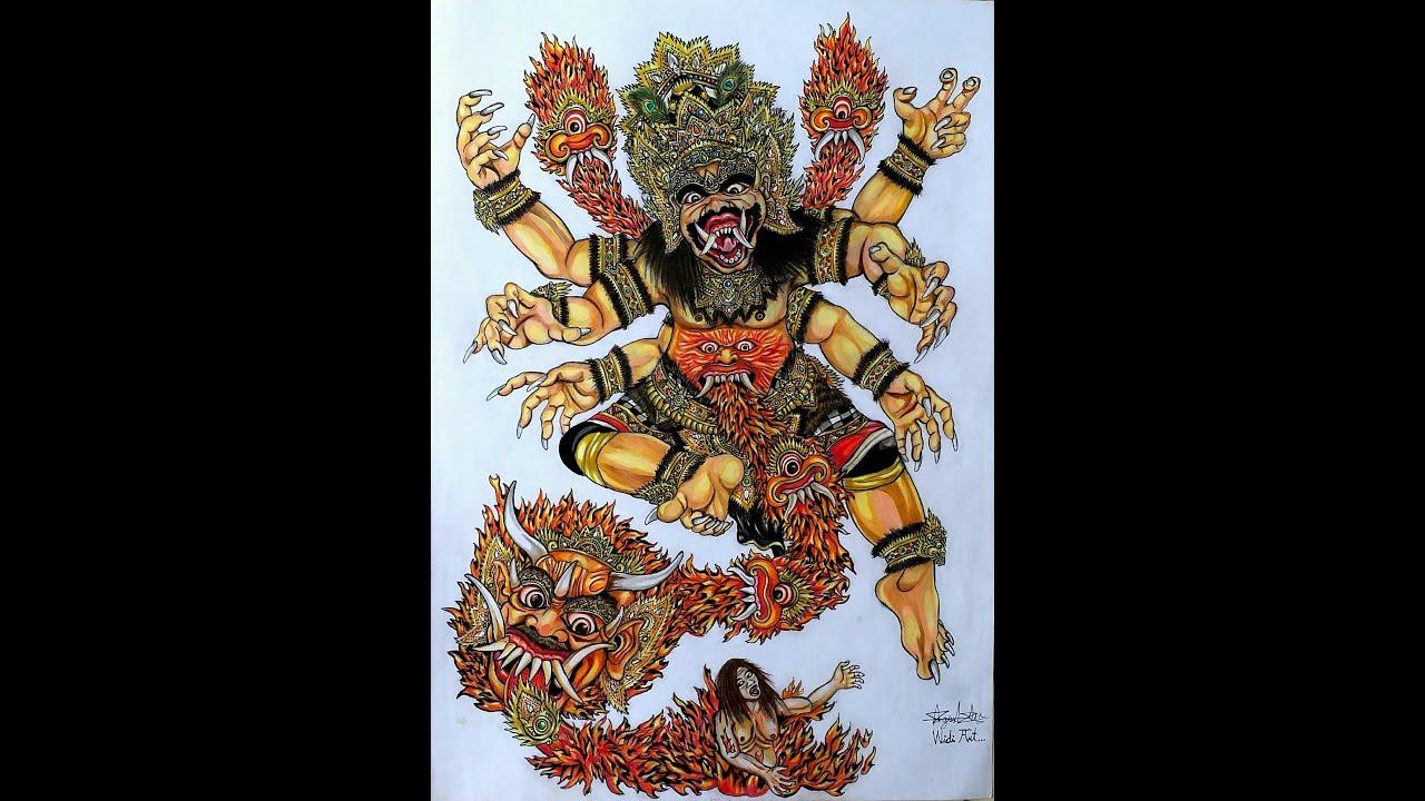 Sket Gambar Ogoh Ogoh ATMANING WONG ANDESTI Dengan Pensil Warna