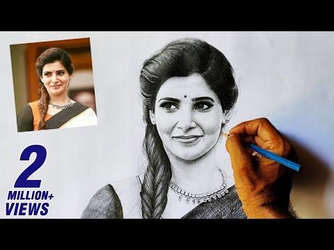 Samantha pencil drawing video | Apsara pencil drawing tutorial