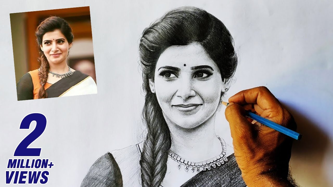Samantha Pencil Drawing Video Apsara Pencil Drawing Tutorial Youtube