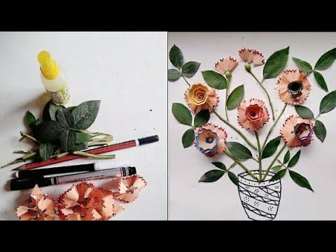 Pencil Shaving Art Pencil Flower Pencil Waste Art Pencil Ke Chhilko Se Flower Art And Craft Youtube