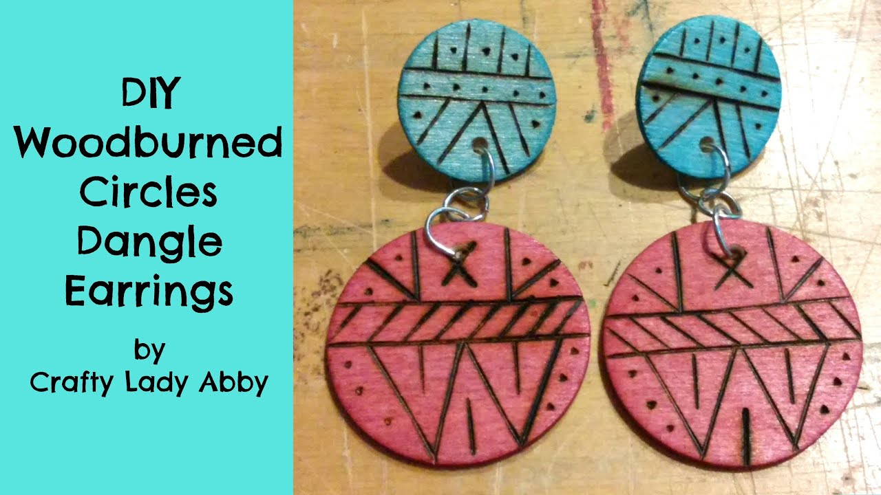 Diy Woodburned Circles Dangle Earrings