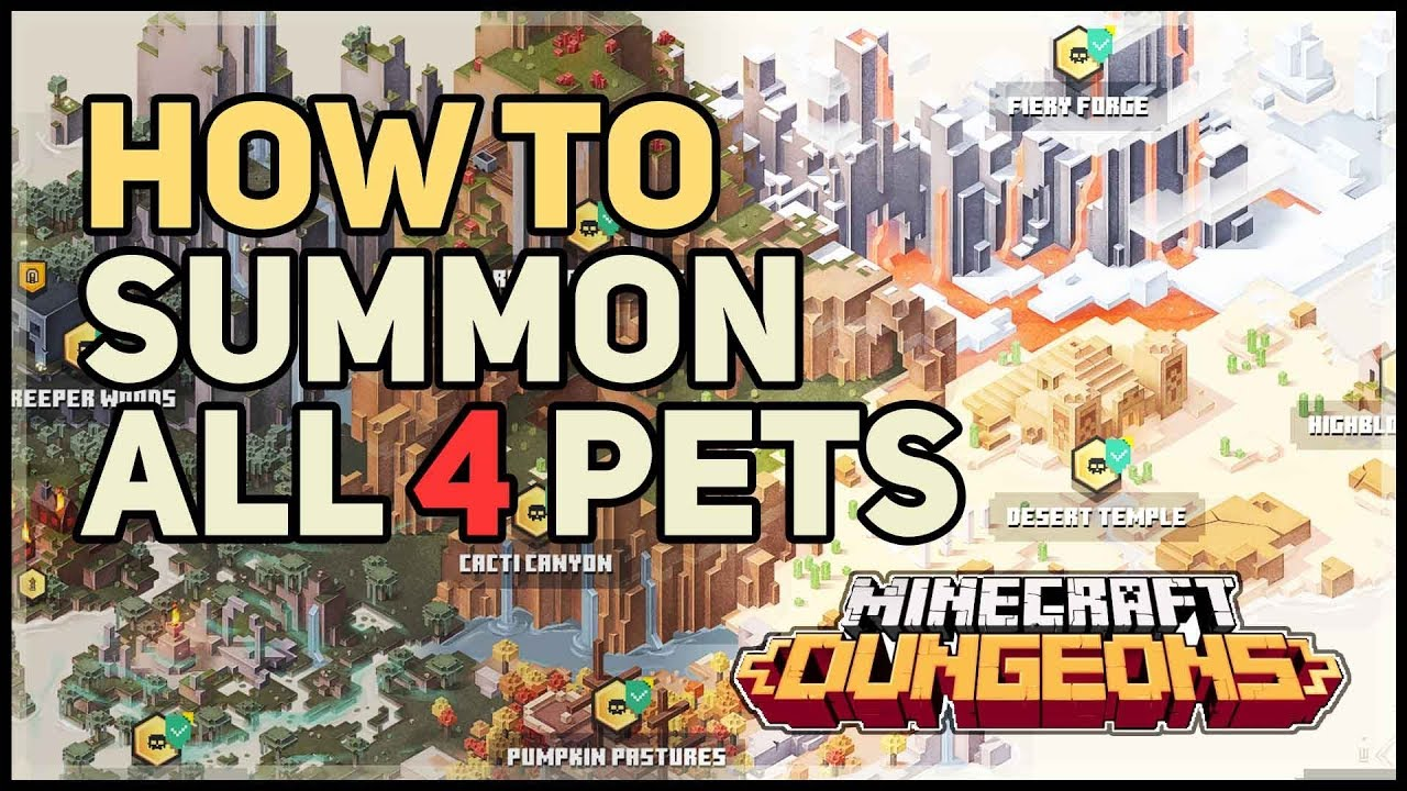 How To Summon All 4 Pets Minecraft Dungeons Golem Llama Wolf