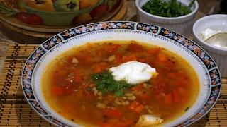 Куриный суп с перловкой и чечевицей _ Chicken soup with barley and lentil