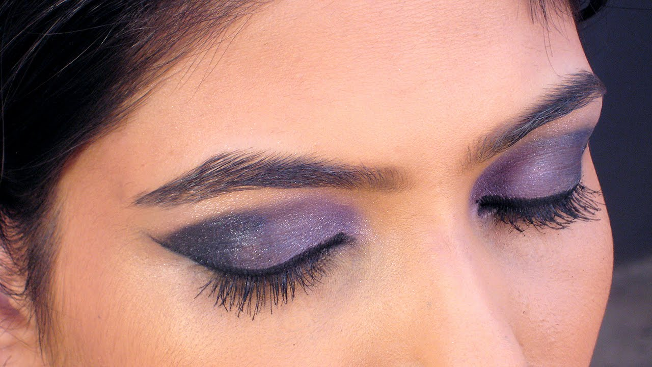 eye makeup tutorial - purple blue smokey eye makeup tutorial in hindi