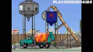 Cement Mixer Truck Cartoon Videos for Children | apps for kids: Tractor, Crane, Digger