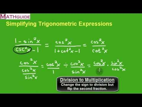Simplifying Trigonometric Expressions Youtube