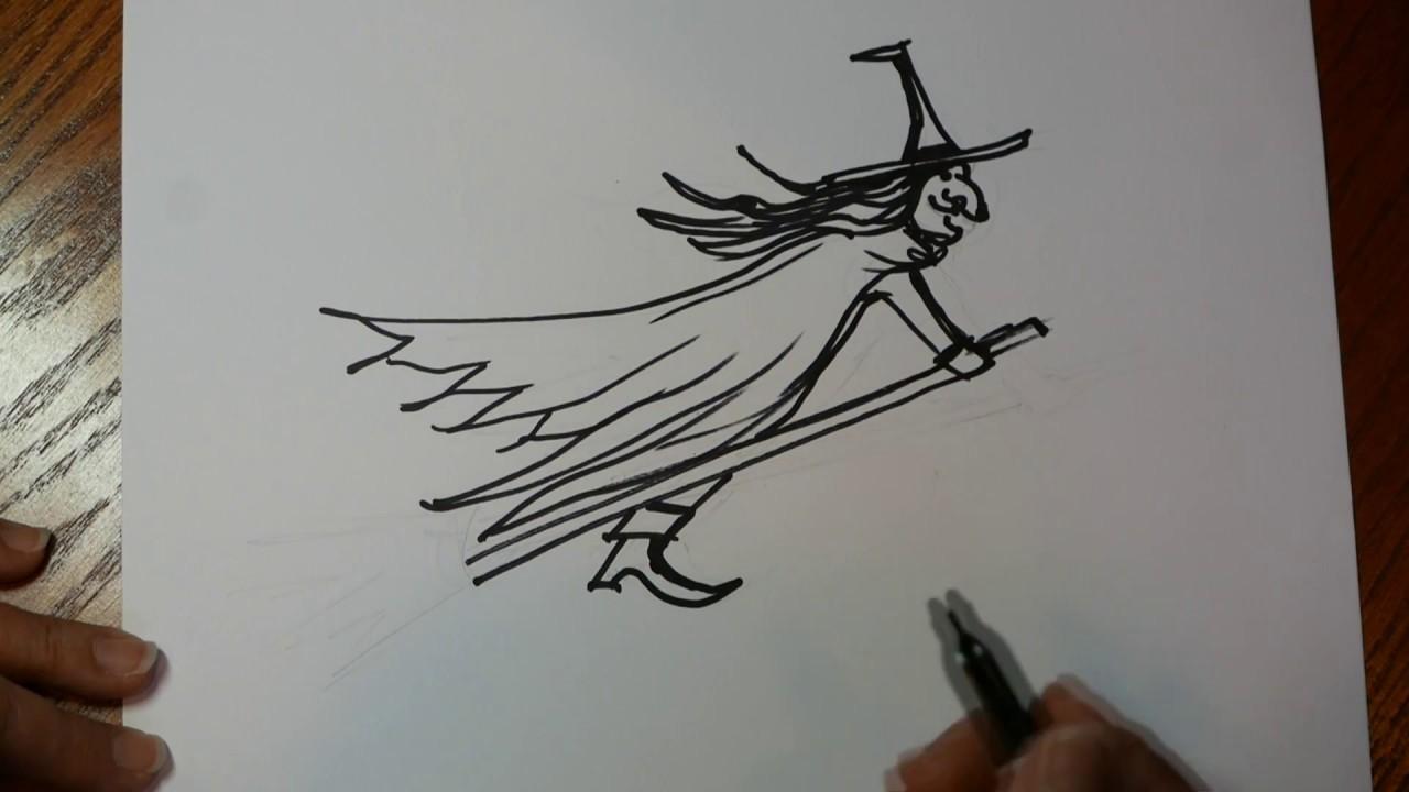 Easy Draw Witch Broom Stick