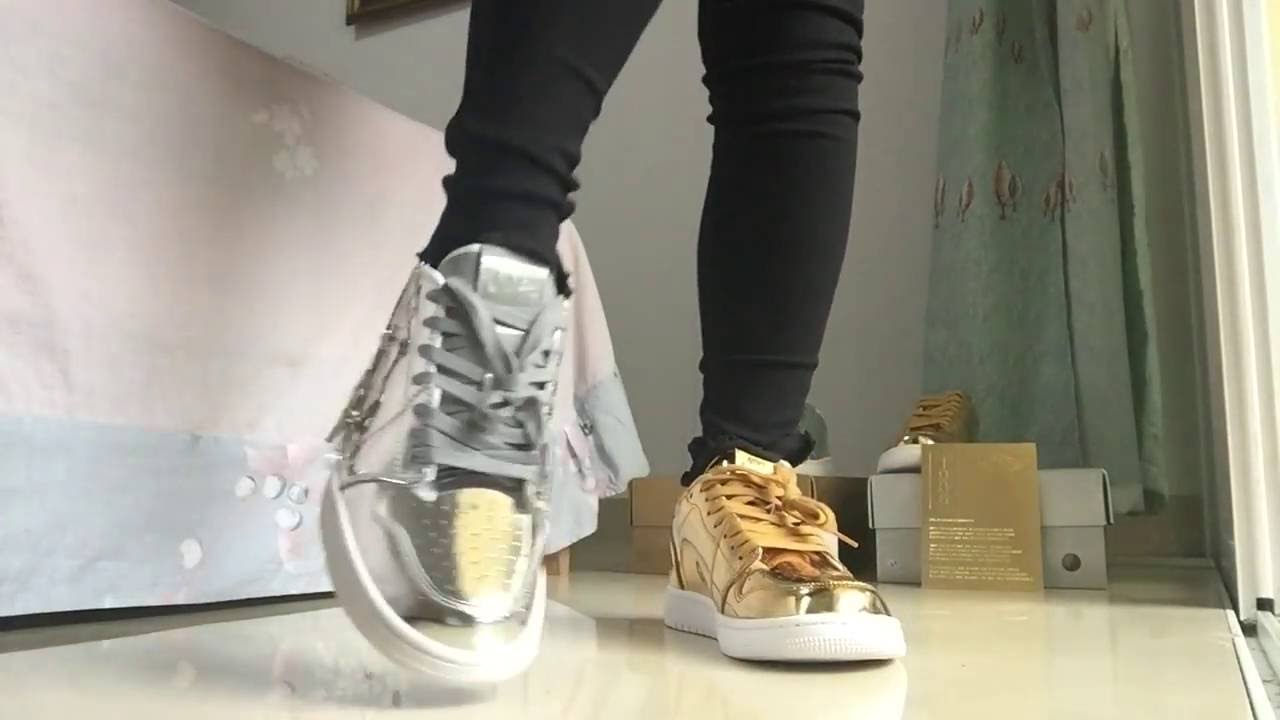 los angeles beauty new style Gold & Silver Air Jordan 1 Low Pinnacle Metallic On Feet ...