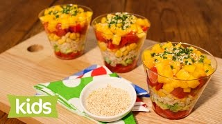 Layered Rice Salad Recipe With Mango And Solanato Tomatoes