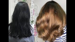 Смывка из чёрного в русый, пошаговый рецепт. /hair color - from black to dark blonde.