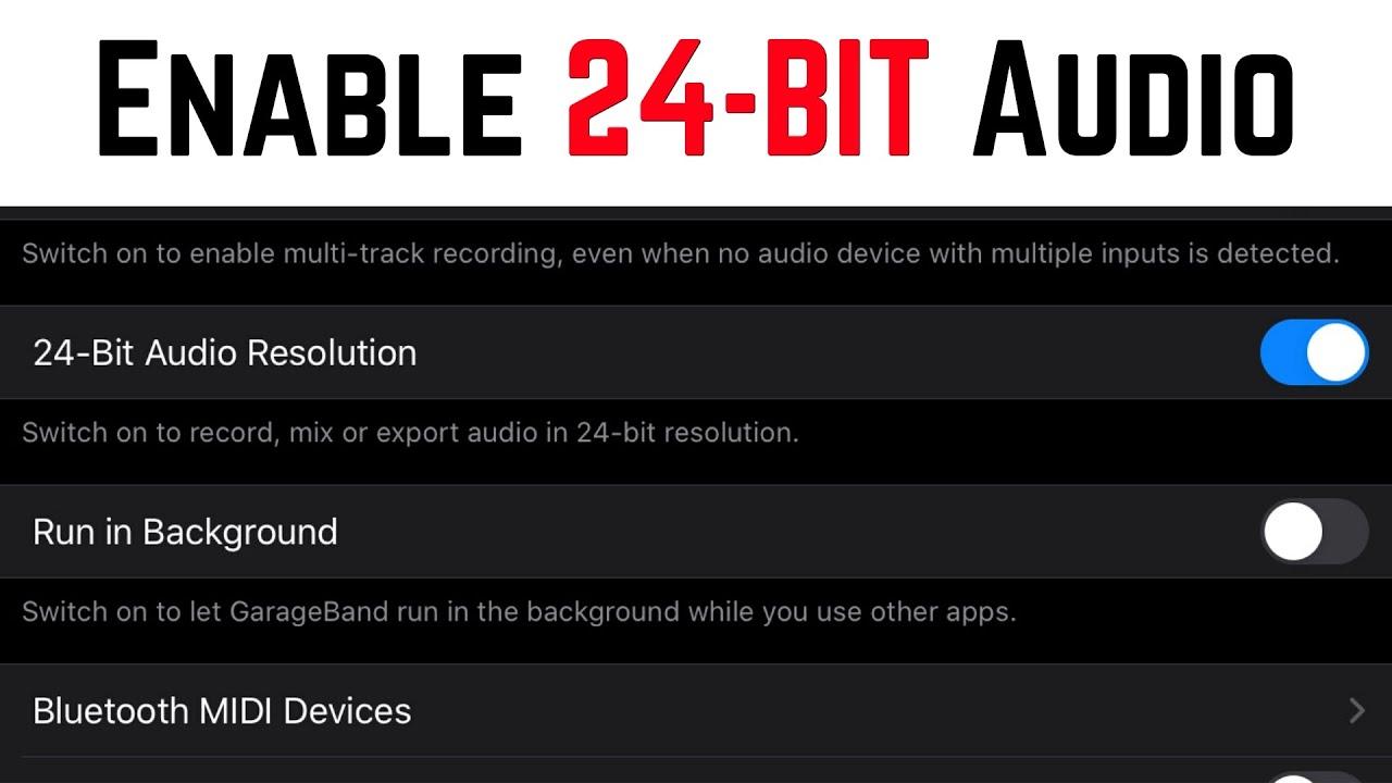 Enable 24-Bit Audio in GarageBand iOS v2 3 (iPhone/iPad) - Quick Tip  (44 1kHz, 24-Bit, WAV exports)