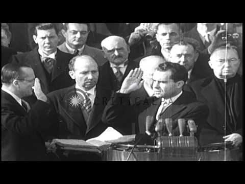 Dwight D. Eisenhower takes the oath in Washington DC as the 34th President of the...HD Stock Footage