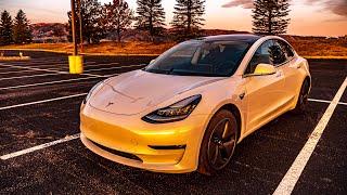 Solar Powered Stealth Camping Setup in Tesla Model 3