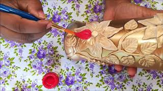Bottle art /bottle craft/bottle craft tricks/ bottle painting with air dry clay and fabric paint./