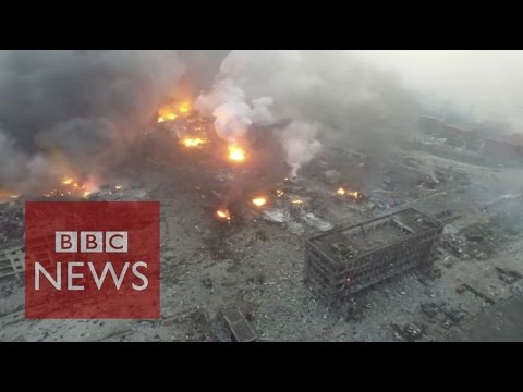 China explosion: Drone footage shows Tianjin blast site - BBC News