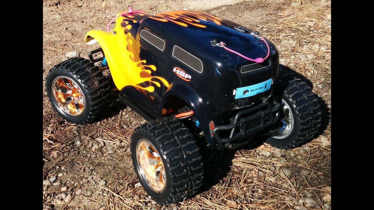 rc hsp brushless hot rod monster truck first dirt bash. Black Bedroom Furniture Sets. Home Design Ideas