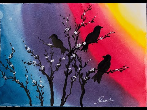 Easy Watercolor Painting – Rainbow Birds
