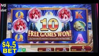 Golden Wolves Slot Machine Bonus WON w/Retrigger $4.50 Bet !! KONAMI SLOT Live Play
