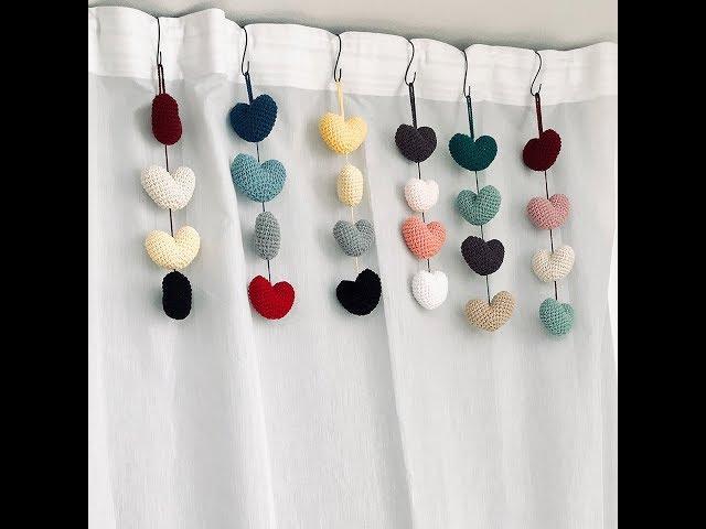 코바늘 하트 가랜드 만들기 : 발렌타인데이: how to make a crochet heart garland part 2