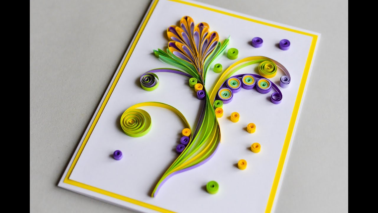 How to make greeting card quilling flower step by step kartka how to make greeting card quilling flower step by step kartka okolicznociowa youtube m4hsunfo
