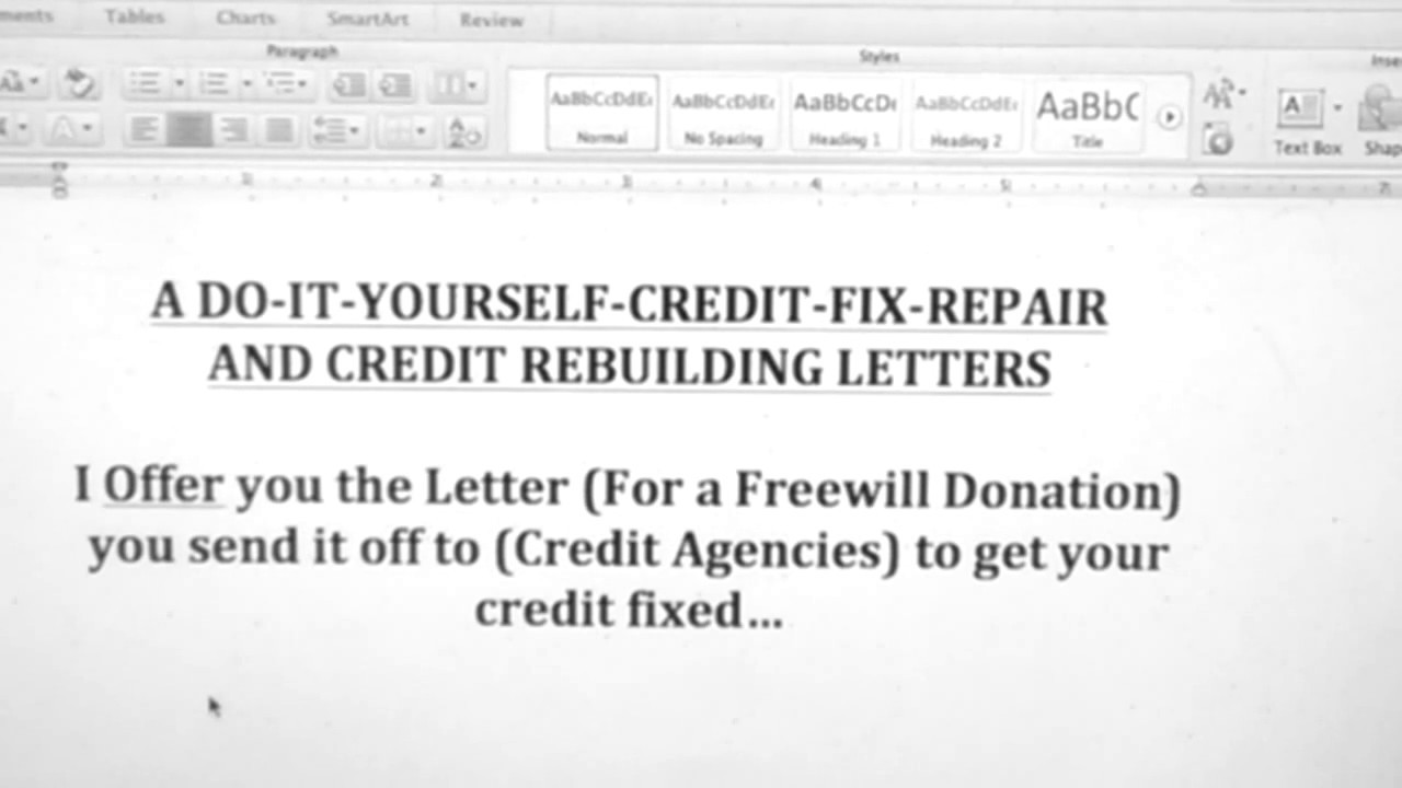 free section 609 credit dispute letter template - a do it yourself credit fix repair youtube