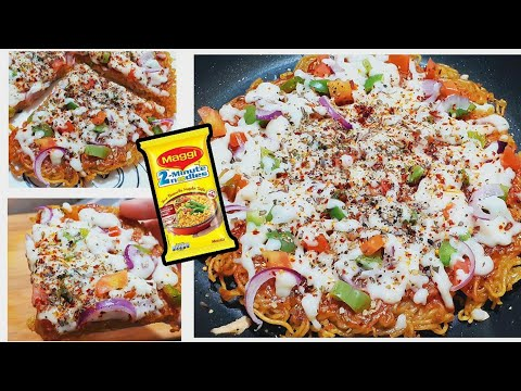 Maggi Pizza Recipe | No Egg Without Oven Cheesy Noodles Cafe Style | How To Make Veg Maggi Pizza