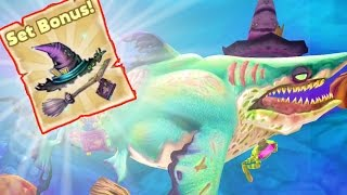 Hungry Shark World FULL WITCHES +31% HEALTH SET-UP ON THE BIGGEST ZOMBIE SHARK!!! | HSW Update!