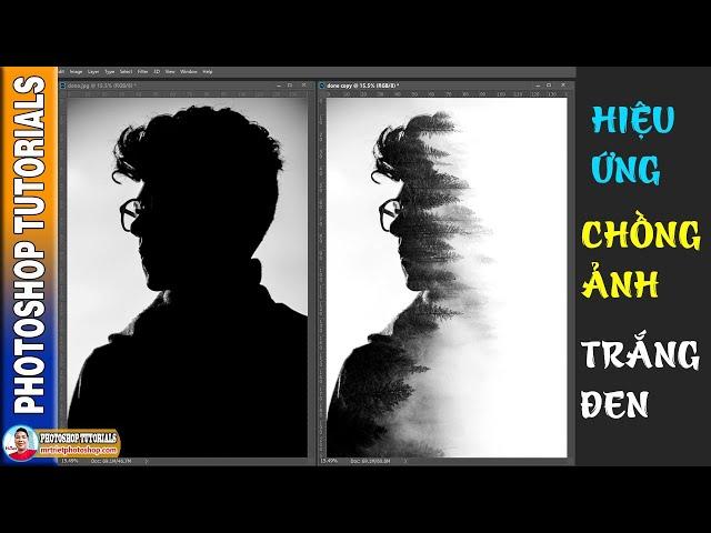 Cách Tạo Hiệu Ứng Chồng Ảnh Trắng Đen | Double Exposure Black White 🔴 MrTriet Photoshop Tutorials
