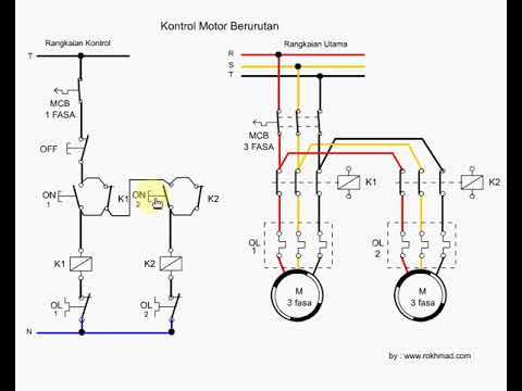 simulasi kontrol motor 3 fasa yang bekerja berurutan - YouTube