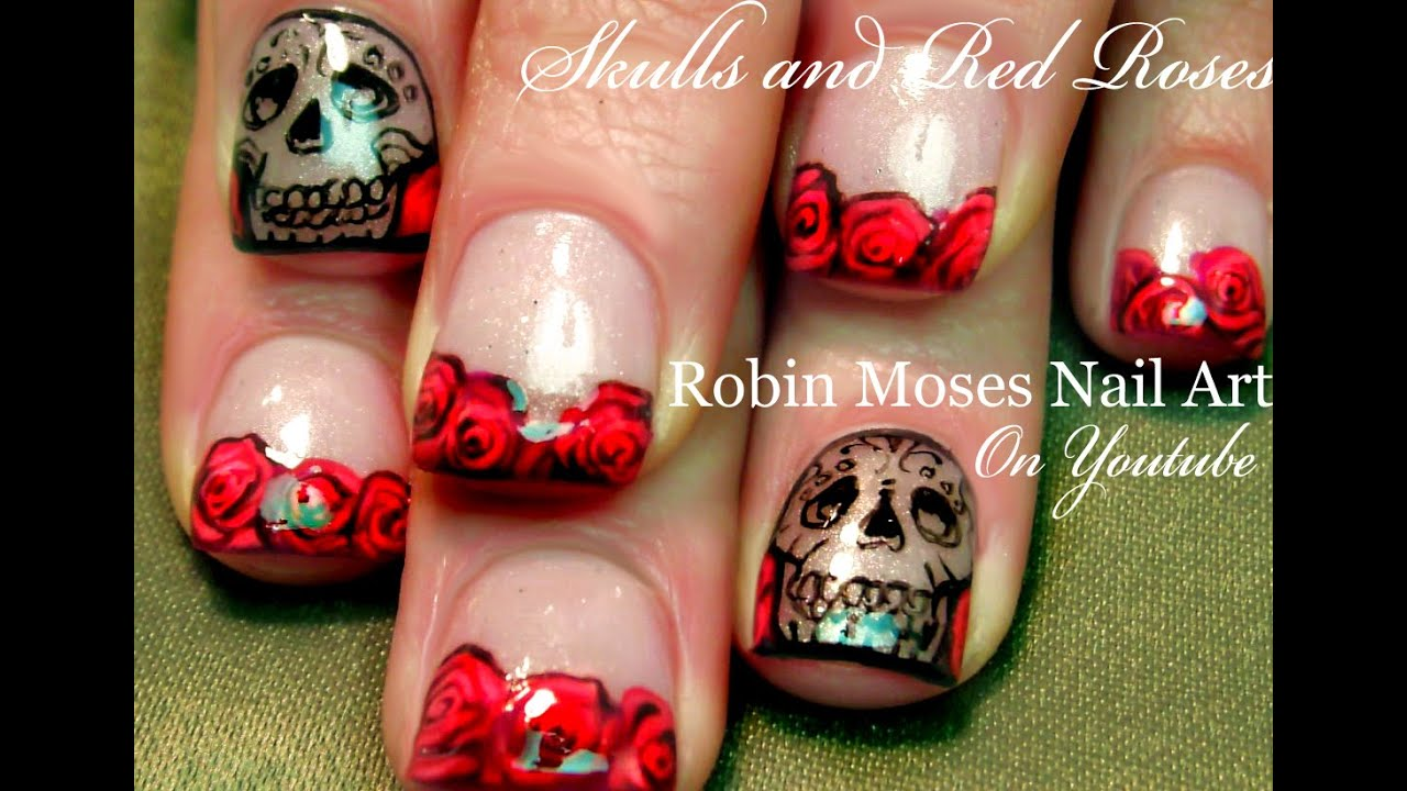 Red Roses And Skulls Nails Art Design Tutorial Youtube