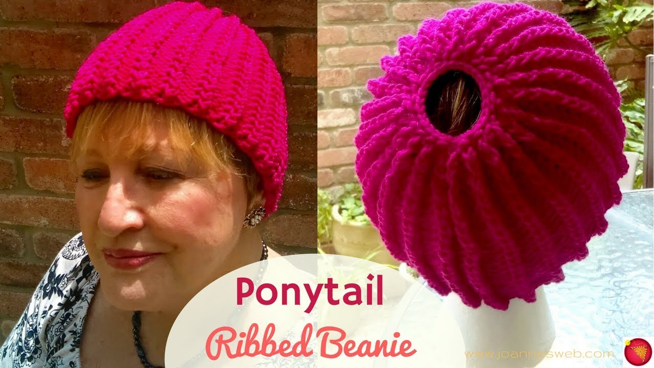 Ponytail Chained Ribbing Knitted Hat - Knitting a Stretchy Ponytail ... 8ab7c8646e1