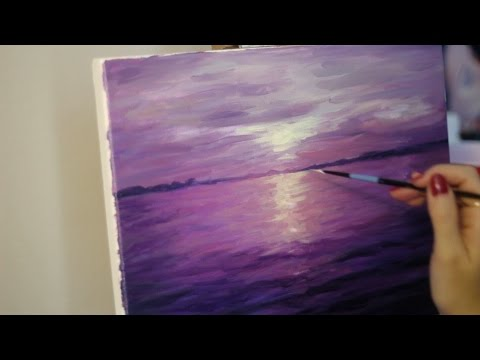 Sd Painting Oil Violet Sunset