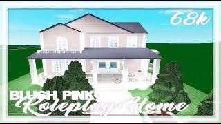 ROBLOX | Bloxburg: 68k Cute Blush Pink Roleplay Home | Speedbuild + Tour + Screenies