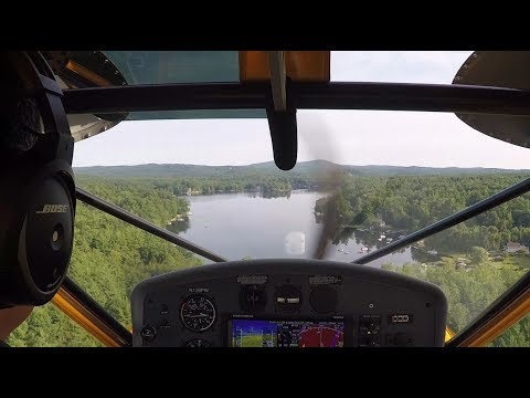 YellowBird: Coffee at Baboosic Lake - Seaplane Glassy Water Landing & Takeoff