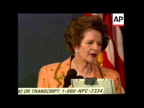 USA: WASHINGTON: LADY THATCHER COMMENTS ON TORY LEADERSHIP BID