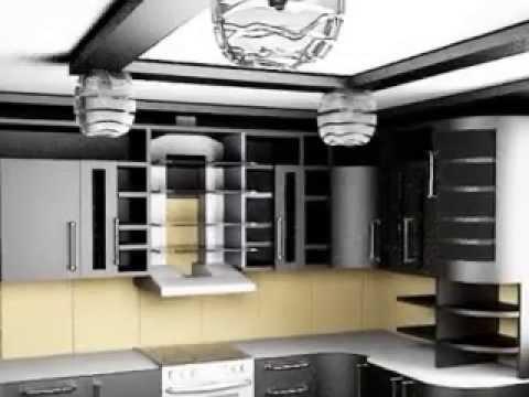 дизайн современной кухни, потолок, полки, светильники кухни