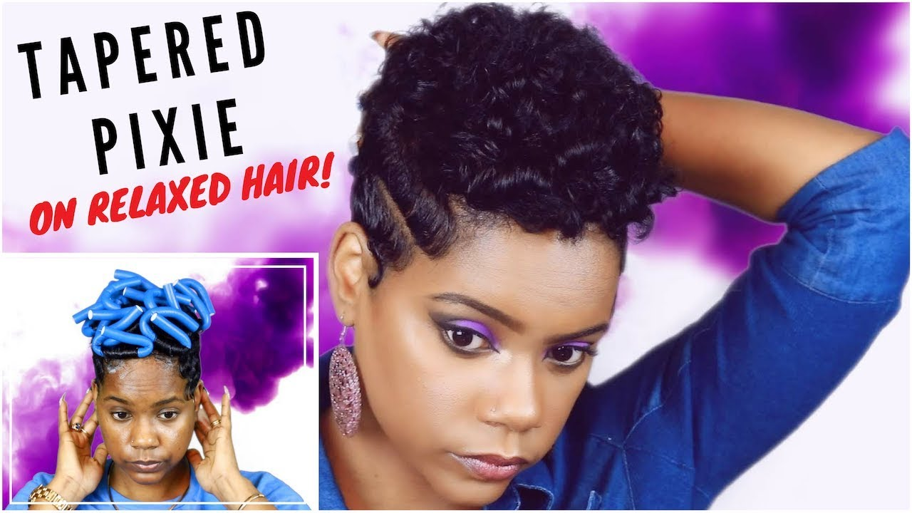 How To Get A Tapered Pixie With Relaxed Short Hair Flexi Rods Heatless Curls Leann Dubois Youtube