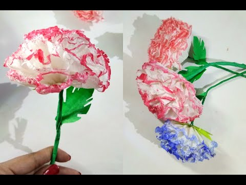 How to make tissue paper flowers | colour tissue flower | easy making