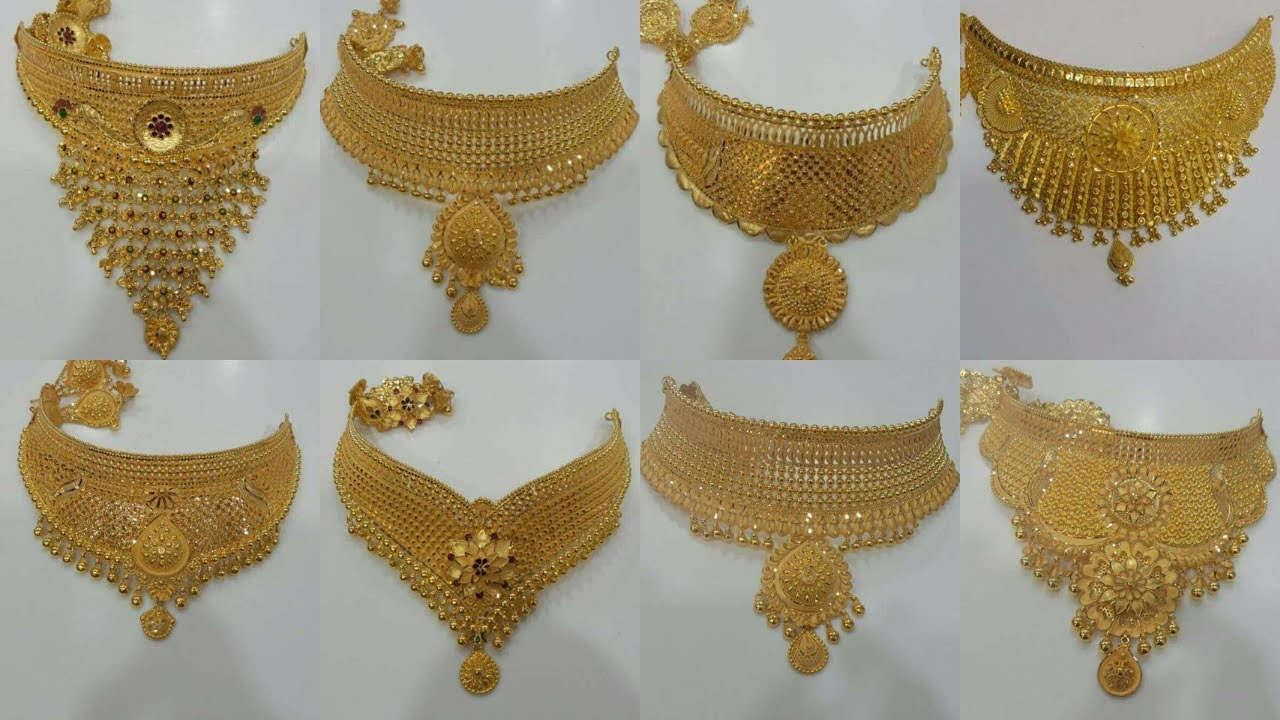 97b59a3d070a52 BRIDAL GOLD CHOKER ||NECKLACES ||DESIGNS 2018 - YouTube