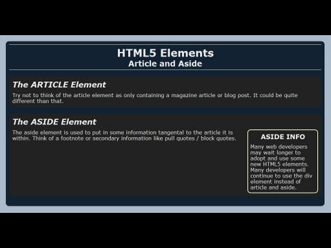 Using Article And Aside With HTML5