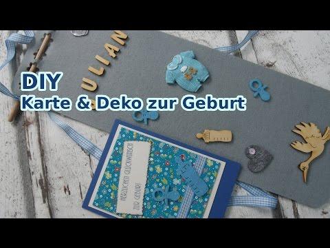 Karte  zur Geburt eines Jungen  & Deko selber machen DIY [deutsch]