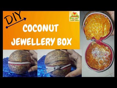 COCONUT JEWELLERY BOX || COCONUT POUCH || DIY VIDEOS
