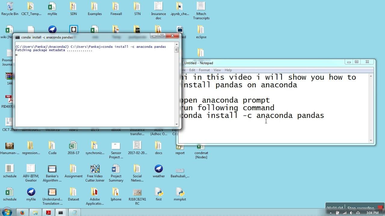 Installing pandas on anaconda windows 7