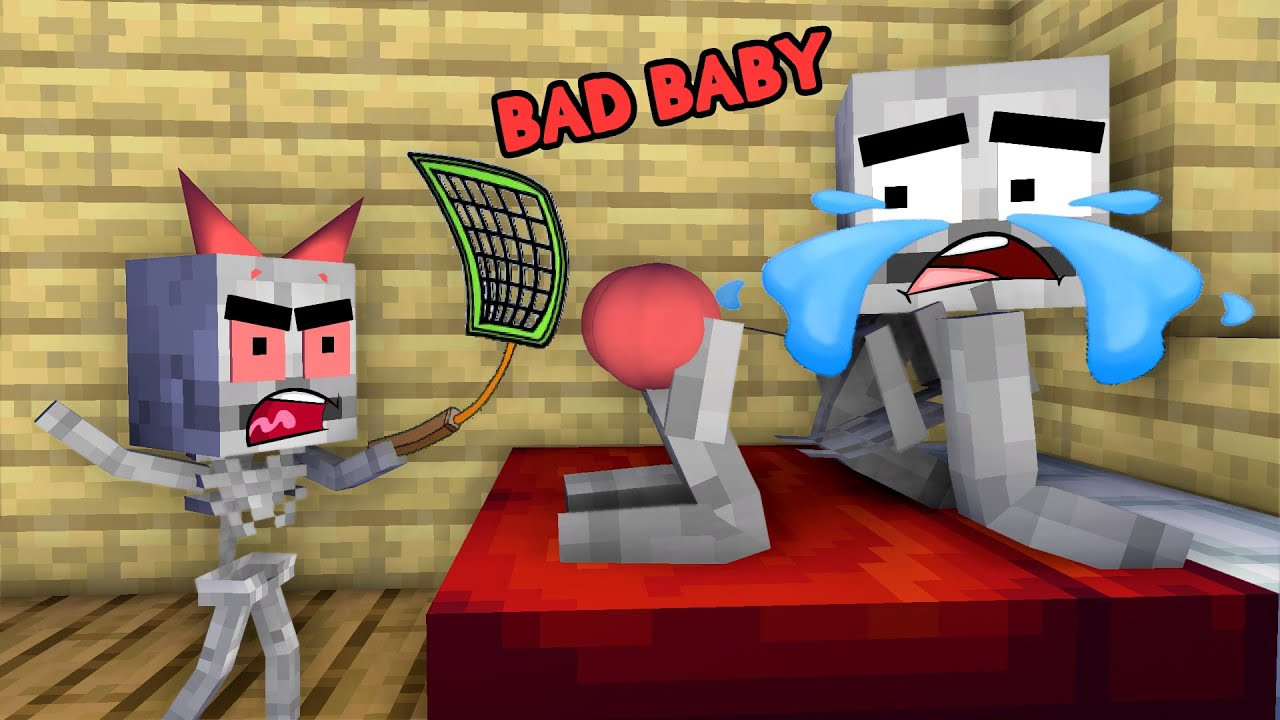 Monster School: Poor Skeleton Family (Bad Baby) Sad story but happy ending- Minecraft Animation