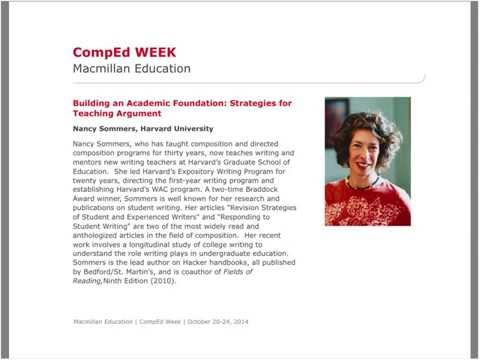 Building an Academic Foundation: Strategies for Teaching Argument with Nancy Sommers