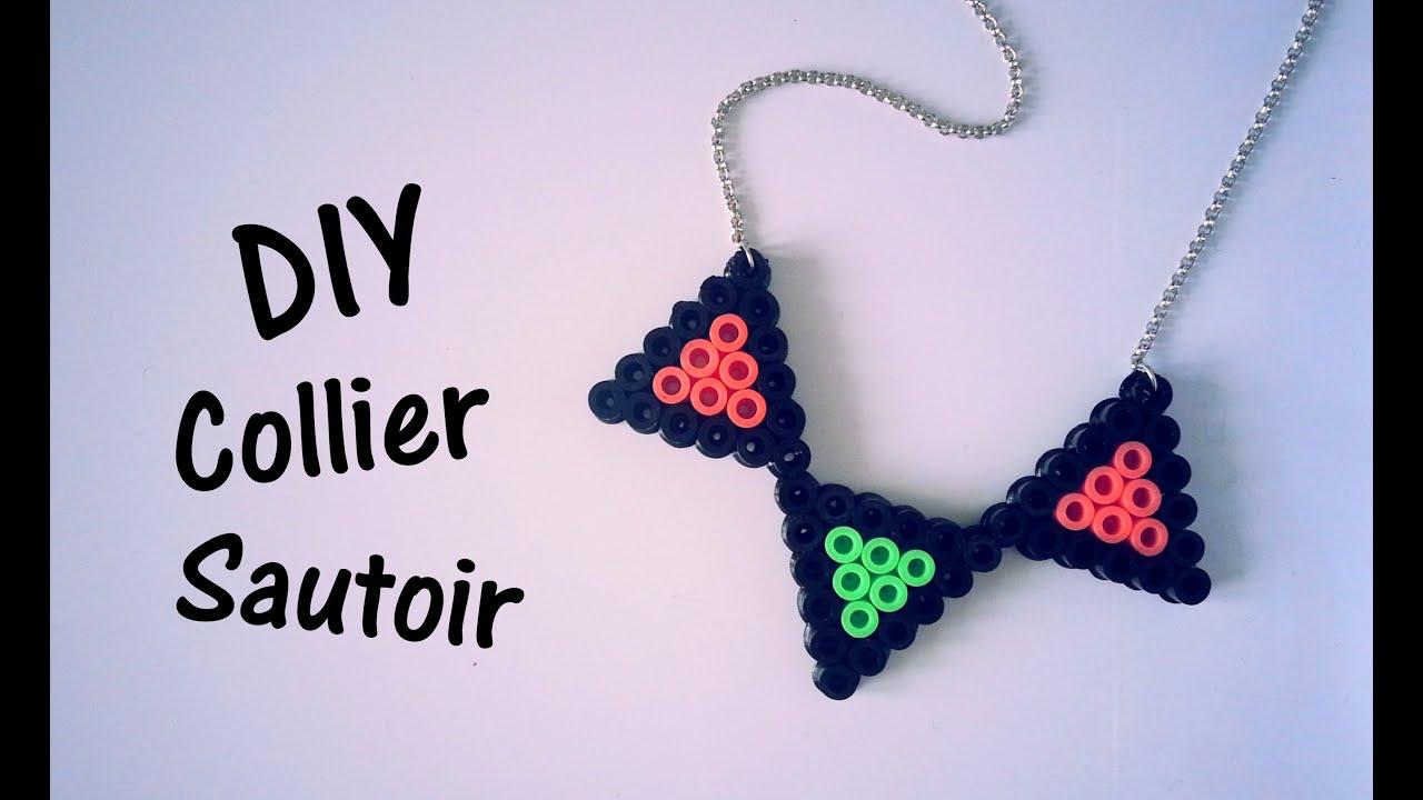Diy Création Collier Sautoir En Perles Hama Youtube