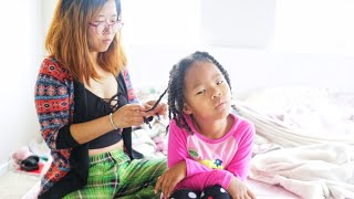Korean Mom Does her Mixed Daughters Hair Twists for the First Time! + Hair Length Check